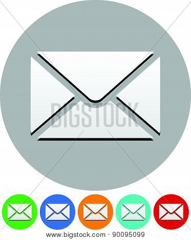 Icon With Closed Letter, Envelope Symbol. Email, Contact Button. 6 Colors To Match Your Design