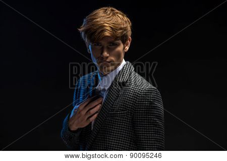 Portrait of red-haired handsome guy