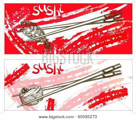Japanese chopsticks with food