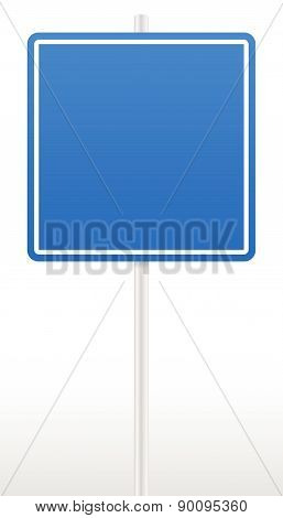 Blank Road Sign On A Post Isolated On White