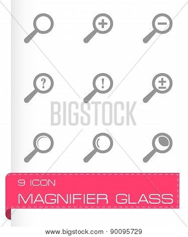 Vector magnifier glass icons set