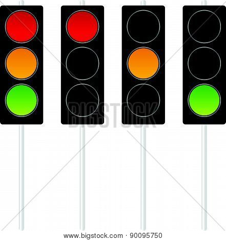 Traffic Lights, Traffic Lamps Isolated On White. Vector