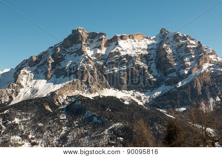 Mountain Peak With Shadow, Sun And Sky