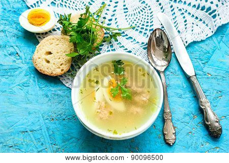 Soup With Meatballs And Egg