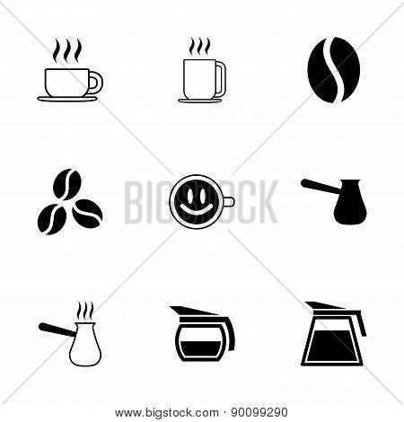 Vector black coffee  icons set