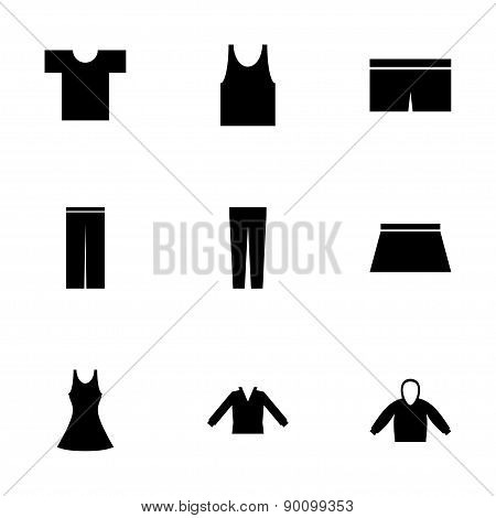 Vector black clothes eyes icons set
