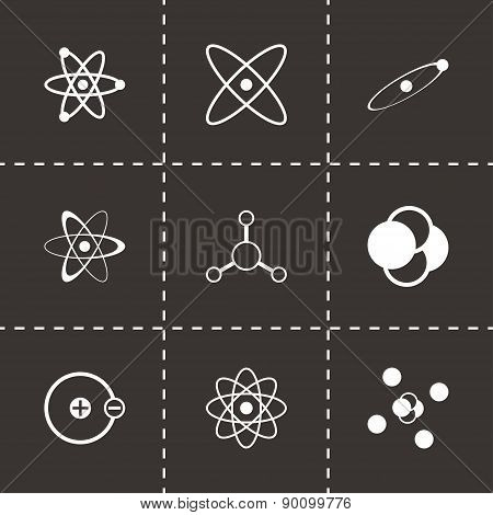 Vector black atom icon set