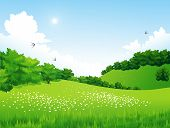 image of meadows  - Vector Green Landscape with trees - JPG