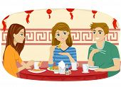 image of chinese restaurant  - Illustration of Teenage Friends Eating at a Chinese Restaurant - JPG