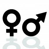 picture of hetero  - man and girl icon black vector on white - JPG
