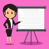 image of presenting  - Cartoon Office Woman Character presenting her company plan to achieve success on Sales or Project - JPG