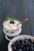 stock photo of orientation  - Blue berries Yogurt Breakfast  - JPG