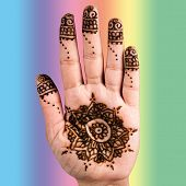 picture of henna tattoo  - Henna hand tattoo decoration art clipping path square colur - JPG