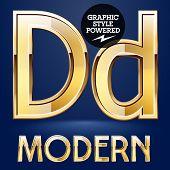 image of letter d  - Vector set of modern golden glossy font - JPG