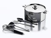 pic of kitchen utensils  - 3d render illustration - JPG
