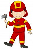 stock photo of grown up  - Close up happy fireman holding an axe - JPG