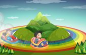 picture of car ride  - Boys riding car on the rainbow around the mountain - JPG