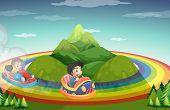 pic of car ride  - Boys riding car on the rainbow around the mountain - JPG
