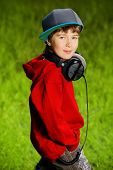 pic of 7-year-old  - Portrait of cute7 years old boy outdoor - JPG