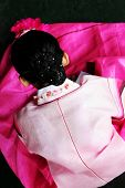 picture of hanbok  - south korean girl dressed in beautiful pink traditional clothing  - JPG