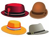 stock photo of fedora  - Four different hats - JPG