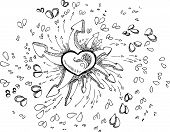 picture of broken hearted  - Black and white sketched doodles with hearts - JPG