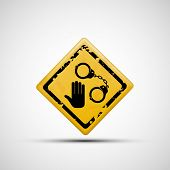 foto of handcuffs  - Sign handcuffs and palm on a white background - JPG