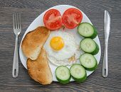 stock photo of scrambled eggs  - Breakfast with scrambled eggs and fresh vegetables - JPG