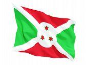 image of burundi  - Waving flag of burundi isolated on white - JPG