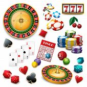 picture of composition  - Casino popular gambling online games symbols composition poster with roulette cards deck and bingo abstract vector illustration - JPG