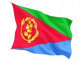 stock photo of eritrea  - Waving flag of Eritrea isolated on white - JPG