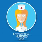 stock photo of nightingale  - International nurse day concept with illustration of a cartoon beautiful nurse - JPG