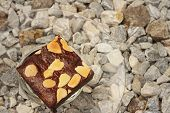 stock photo of brownie  - Brownies in a plate on the background of the stone - JPG