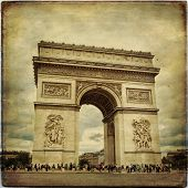stock photo of charles de gaulle  - Beautiful view of the Arc de Triomphe in Paris in vintage style France - JPG