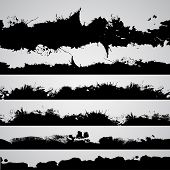 Постер, плакат: Grunge Drawn Splashes Set Black Silhouettes