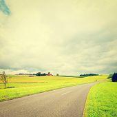 image of bavaria  - Road between Corn and Wheat Fields in Bavaria Retro Effect - JPG