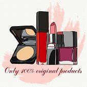 stock photo of lipstick  - set of cosmetics  - JPG