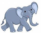pic of animated cartoon  - Happy elephant walking - JPG