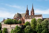 picture of observed  - View up to the famous Basel cathedral with observation point and Basel flag - JPG