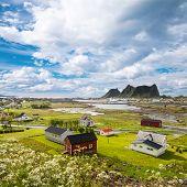 stock photo of lofoten  - Summer view to Vaeroy island - JPG