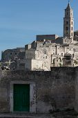 picture of sassy  - Matera a green door at the entrance to the Sassi - JPG