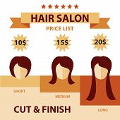 foto of ombre  - Vector flat Set Hair Salon Labels and Icons for price - JPG