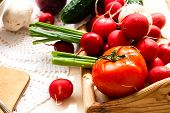 picture of green onion  - set fresh vegetables on a wooden tray for cooking - JPG