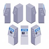 stock photo of automatic teller machine  - Set of the isometric ATMs - JPG