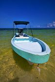 foto of gulf mexico  - tent in the blue lagoon relax and boat of sian kaan in mexico - JPG