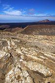 stock photo of volcanic  - timanfaya in los volcanes volcanic rock stone sky hill and summer lanzarote spain plant flower bush - JPG