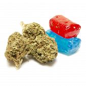 image of marijuana leaf  - Marijuana and Hard Candy Containing Medical Marijuana THC - JPG