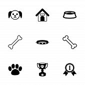 stock photo of bag-of-dog-food  - Vector black dog icon set on white background - JPG