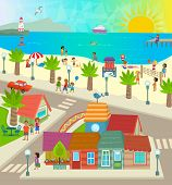 stock photo of beach-house  - Aerial view of a town with shops - JPG