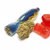 pic of weed  - Marijuana Bud and Weed Candy Containing THC - JPG
